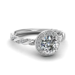 Round Cut Diamond Triple Braided Corona Halo Ring In 14K White Gold