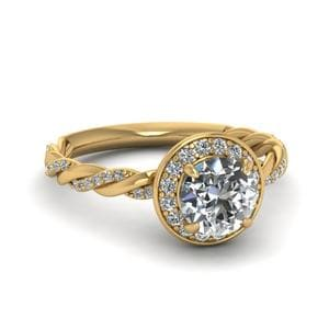 Round Cut Diamond Triple Braided Corona Halo Ring In 14K Yellow Gold