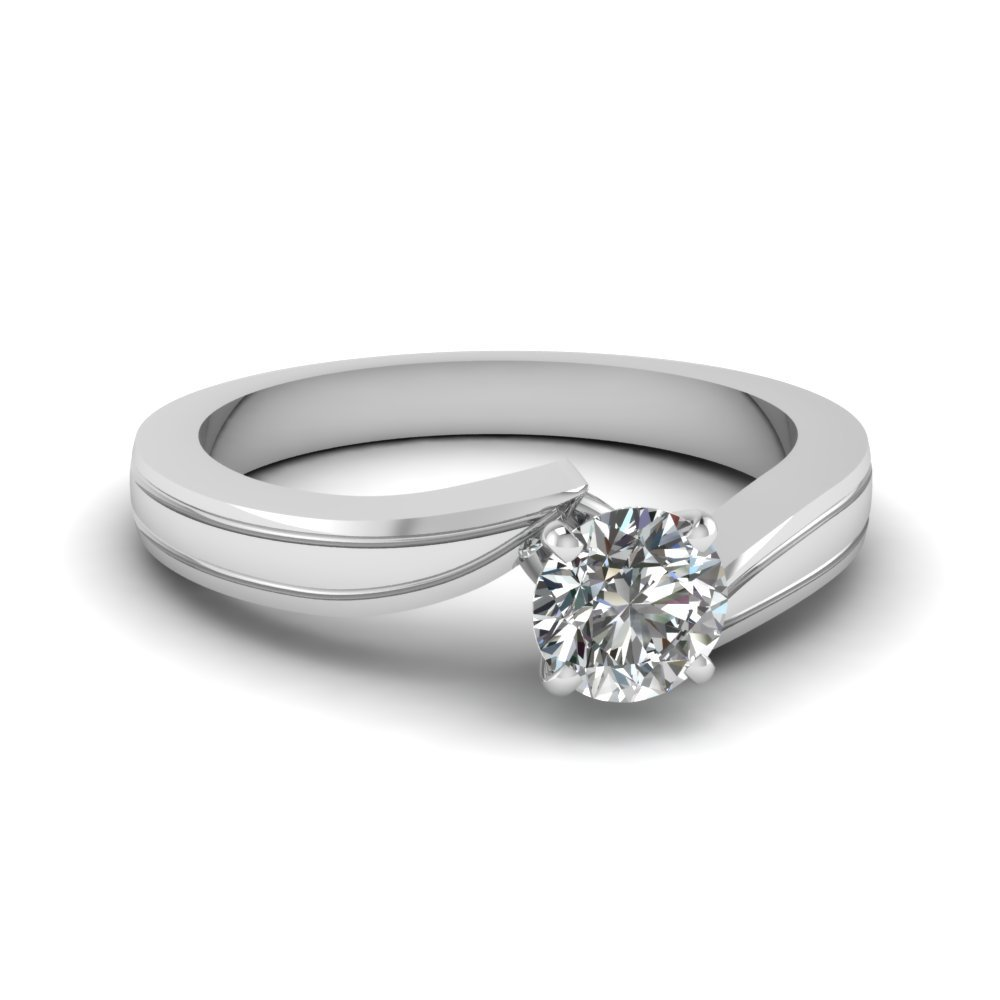 Round Cut Diamond Twisted Solitaire Engagement Ring In 950 Platinum