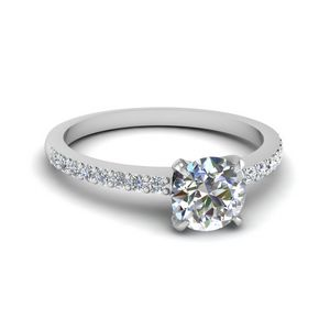 Round Cut Diamond Petite Ring In 18K White Gold