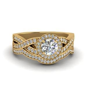 Round Cut Diamond Vintage Intertwined Circle Engagement And Wedding Ring Set In 14K Yellow Gold