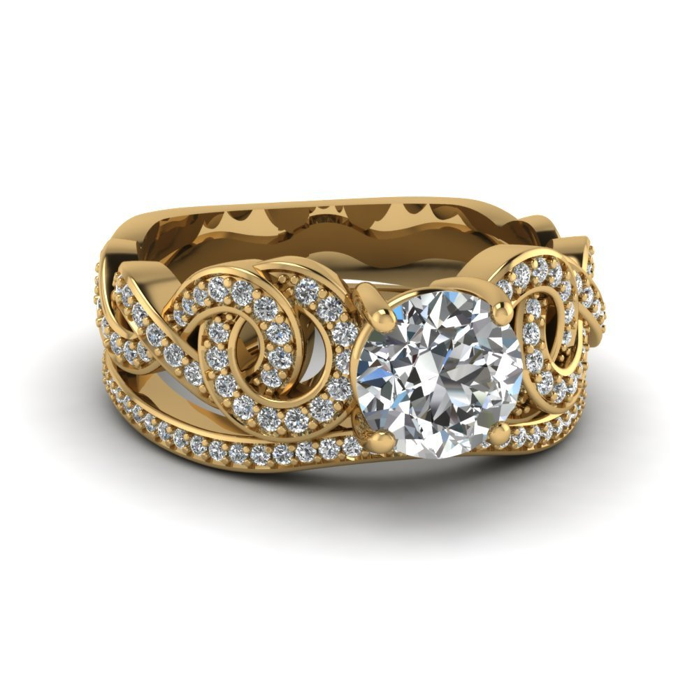 Intertwined Pave Diamond Wedding Ring Set In 14K Yellow Gold