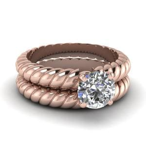 Round Cut Rope Solitaire Wedding Ring Set In 18K Rose Gold