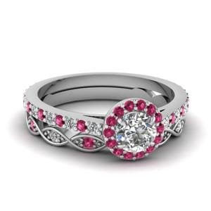 14k Pink Sapphire Wedding Ring Sets