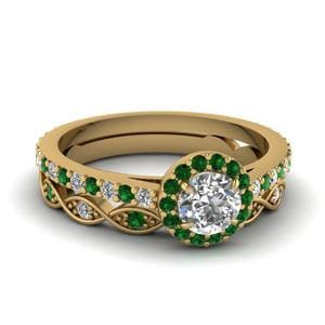 18k Ring Sets with Green Emerald