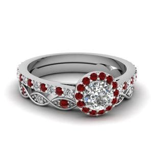 18k Bridal Ring Set with Red Ruby