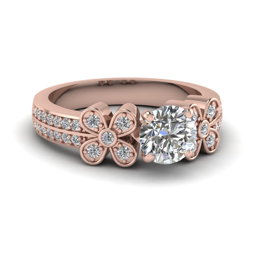 Twin Floret Round Diamond Ring