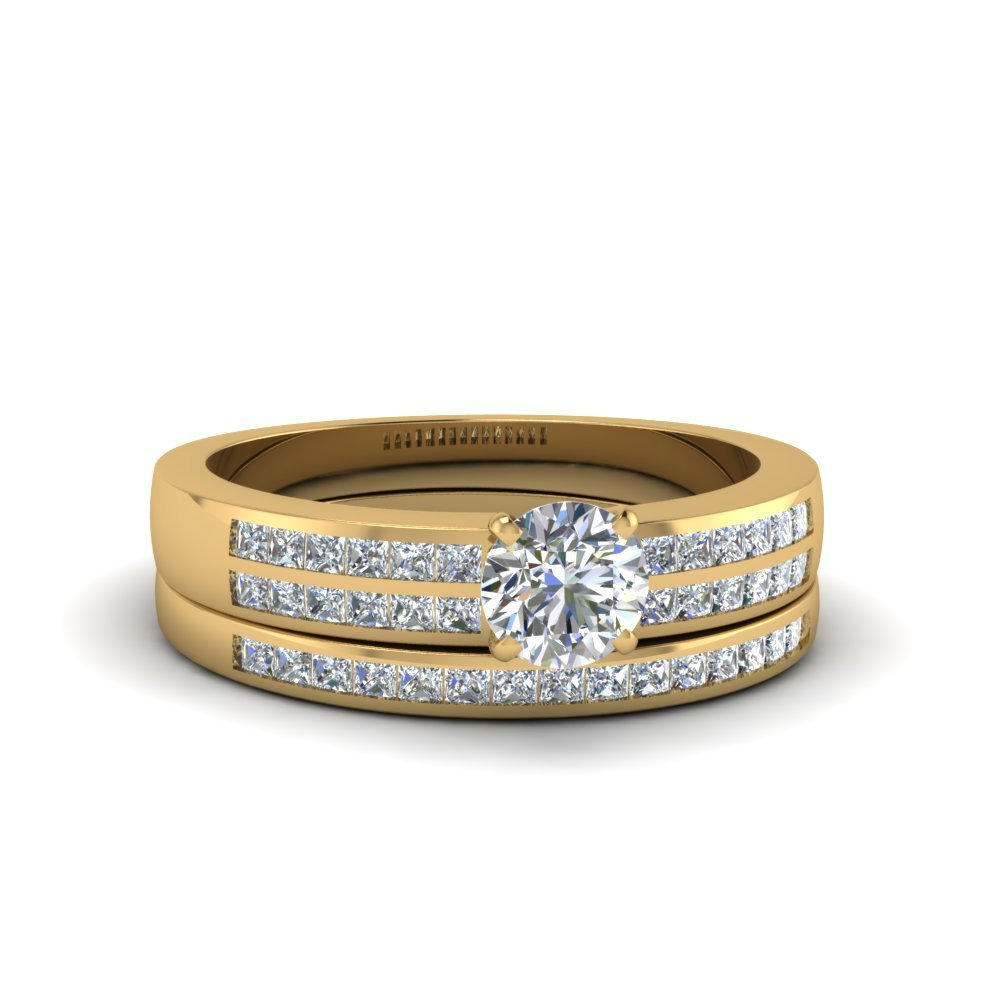 Round Cut Double Row Channel Diamond Wide Bridal Set In 14K Yellow Gold