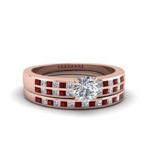 Ruby With Diamond Wedding Ring Set