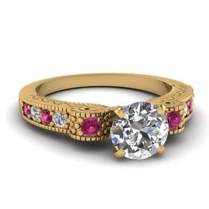 Engraved Antique Pave Round Cut Diamond Engagement Ring With Pink Sapphire In 14K Yellow Gold
