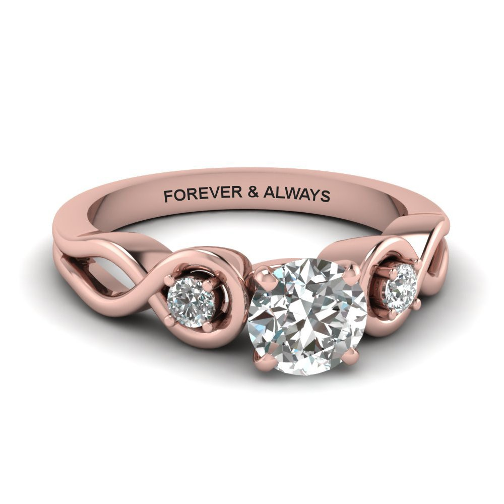 Round Cut Engraved Three Stone Diamond Engagement Ring In 14K Rose Gold