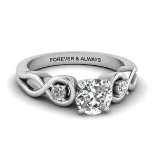 Round Cut Engraved Three Stone Diamond Engagement Ring In 14K White Gold