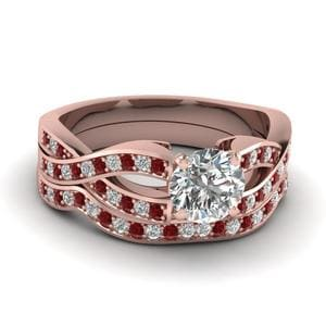 Round Cut Entwined Pave Diamond Bridal Set With Ruby In 14K Rose Gold