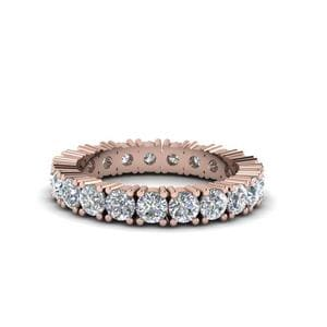 Round Cut Eternity White Diamond Bands In 14K Rose Gold