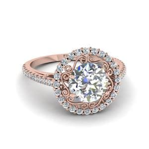 14K Rose Gold Filigree Engagement Ring