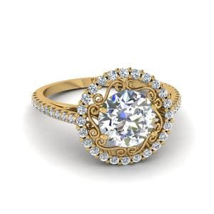 18K Yellow Gold Micropave Halo Ring