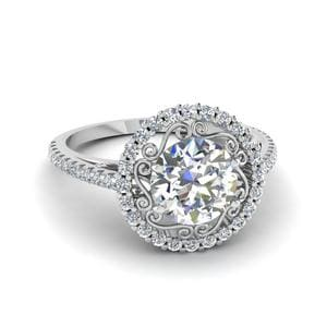 Platinum Filigree Halo Diamond Ring