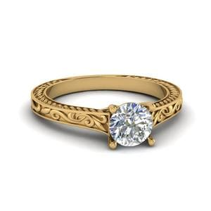 Round Cut Filigree Single Solitaire Diamond Engraved Shank Engagement Ring In 14K Yellow Gold