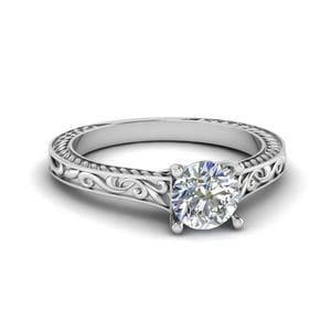 Round Cut Filigree Single Solitaire Diamond Engraved Shank Engagement Ring In 18K White Gold
