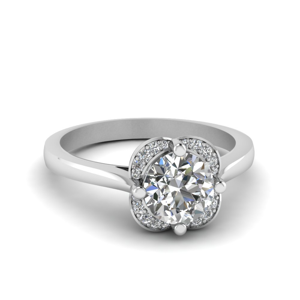Floral Halo Round Diamond Ring