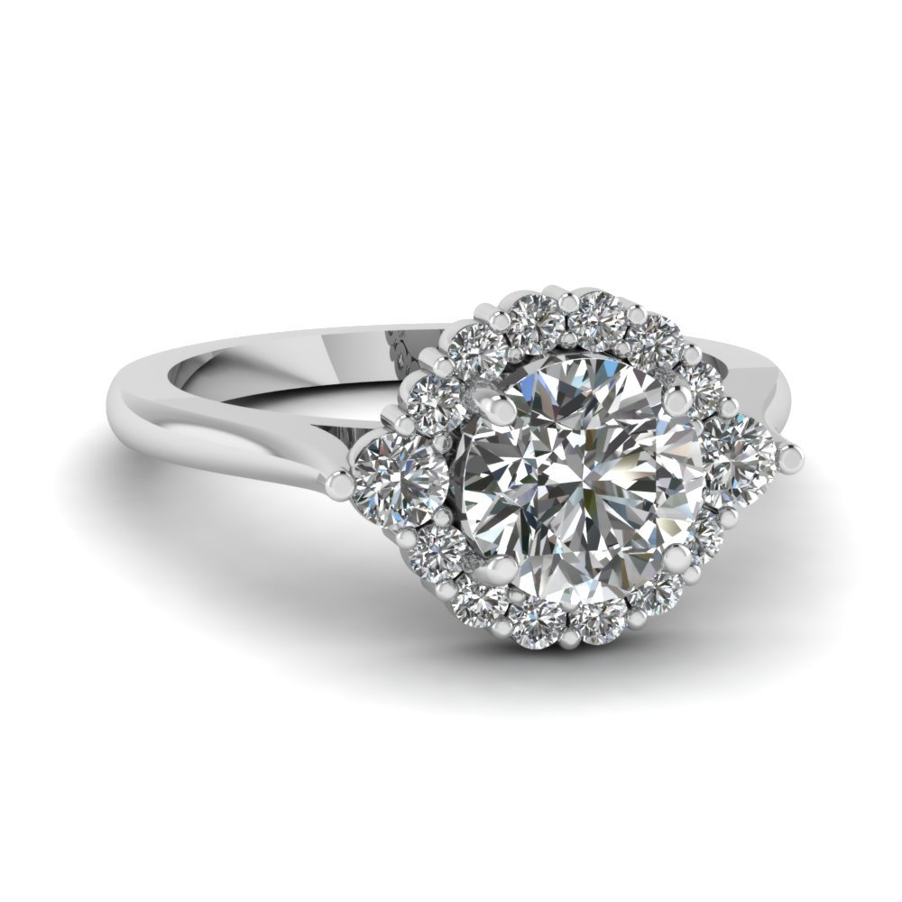 Floating Prong Round Halo Ring