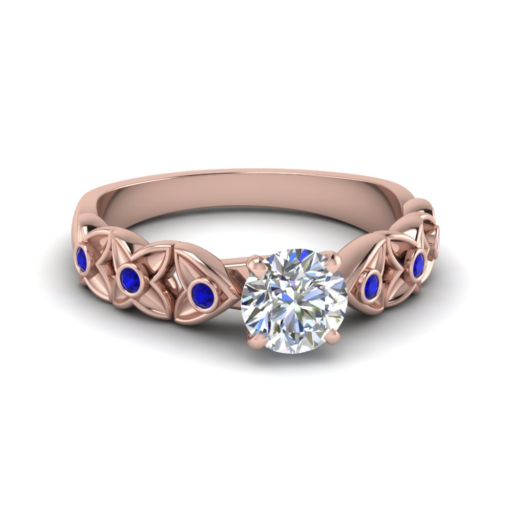 Floral Style Accent Engagement Ring