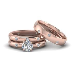 Flush Set Matching Diamond Rings For Couples