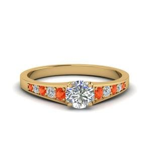 Orange Topaz Side Stone Ring