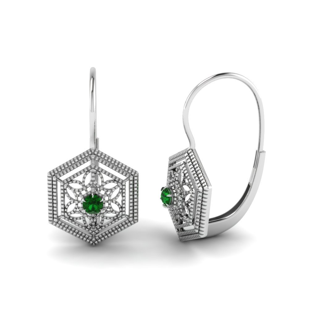 Emerald Filigree Leverback Earring