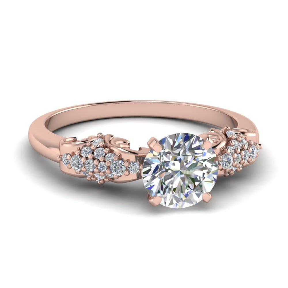 Cluster Filigree Round Diamond Ring (0.75 Ct) In 18K Rose Gold