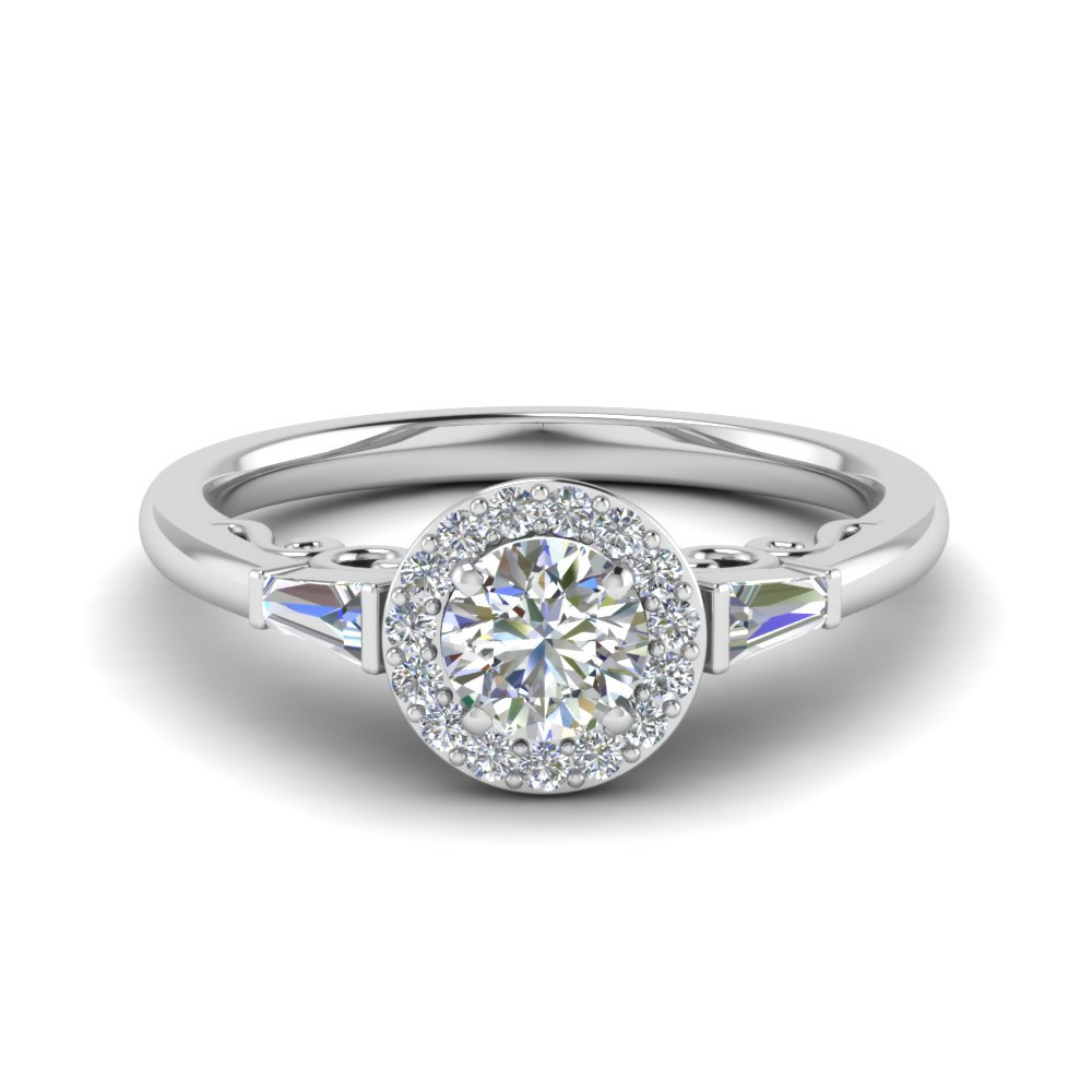 Round Cut Halo Diamond Engagement Ring With Baguette In 14K White Gold