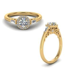 Round Cut Halo Diamond Engagement Ring With Baguette In 14K Yellow Gold