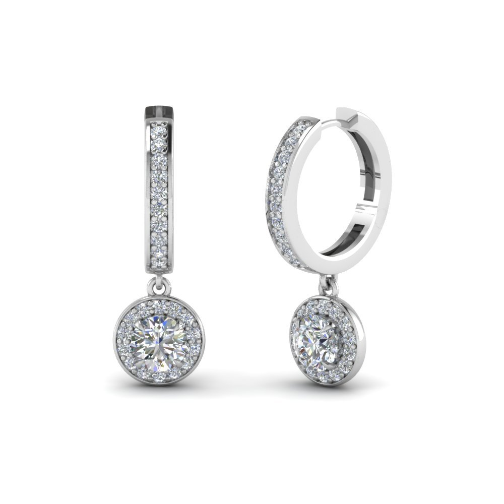 Round Cut Halo Diamond Hoop Earring In 14K White Gold