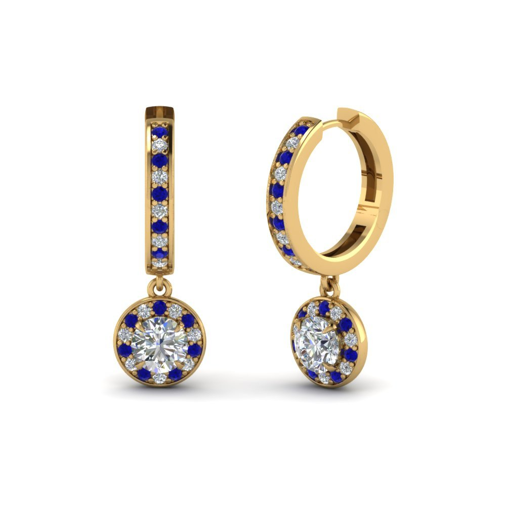 Round Cut Halo Diamond Hoop Earring With Blue Sapphire In 14K Yellow Gold