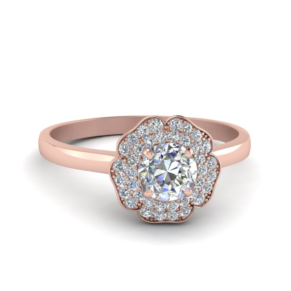 Round Cut Halo Flower 2 Row Diamond Engagement Ring In 14K Rose Gold