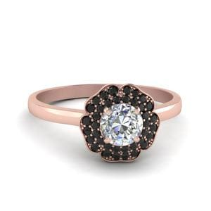 Round Cut Halo Flower 2 Row Engagement Ring With Black Diamond In 14K Rose Gold