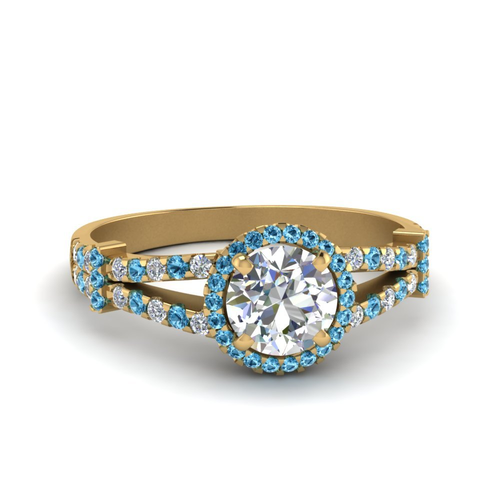 Halo Pave Split Shank Diamond Engagement Ring With Blue Topaz In 18K Yellow Gold