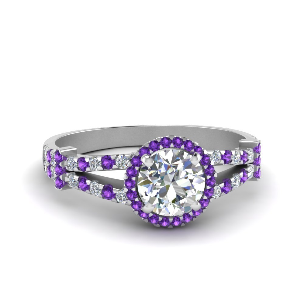 Halo Pave Split Shank Diamond Engagement Ring With Violet Topaz In 950 Platinum