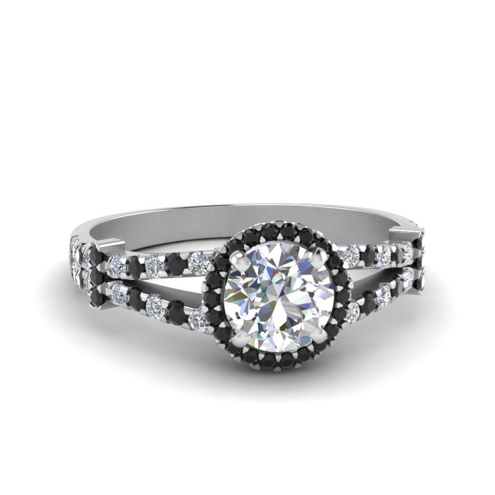 Halo Pave Split Shank Engagement Ring With Black Diamond In 18K White Gold