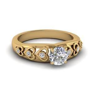 Round Cut Heart Design Diamond Accent Engagement Ring In 18K Yellow Gold