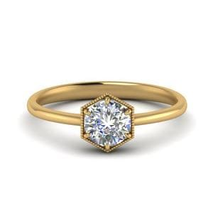 18K Yellow Gold Milgrain Solitaire Ring