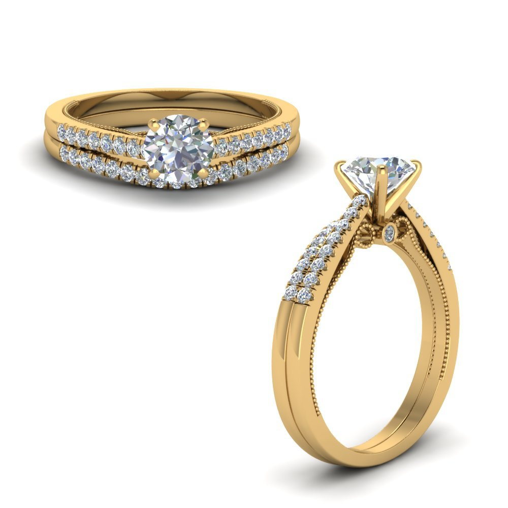 Round Cut Milgrain Wedding Ring Set