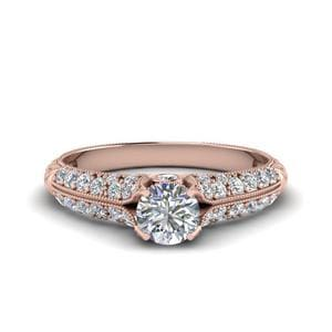 Round Cut High Setting Vintage Diamond Ring In 18K Rose Gold