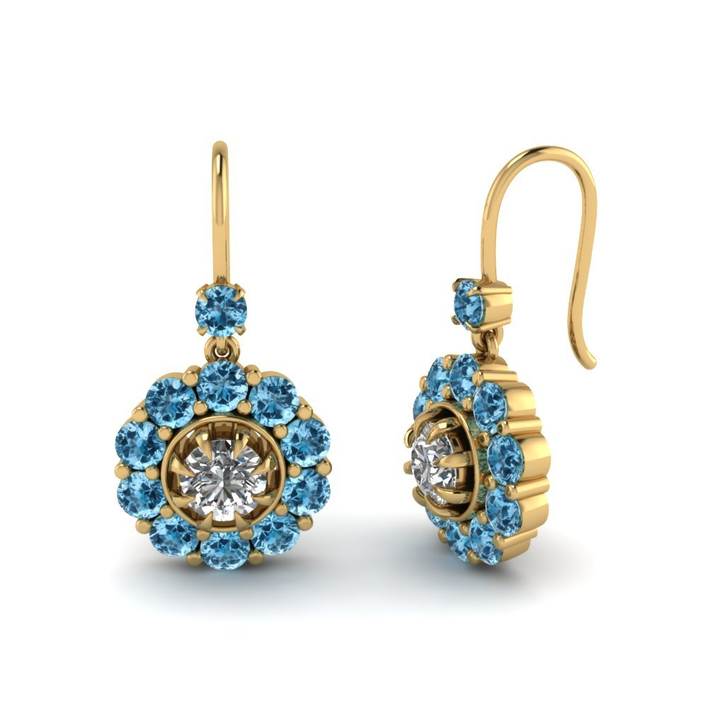 Floral Drop Blue Topaz Dangle Earring