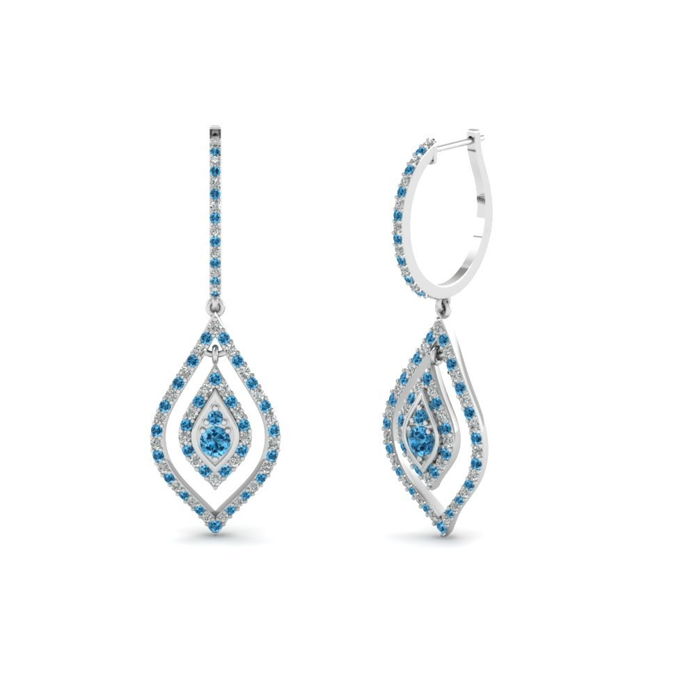Blue Topaz Hoop Drop Earring