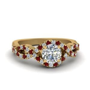 Infinity Diamond Ring With Ruby