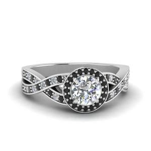Platinum Black Diamond Halo Ring