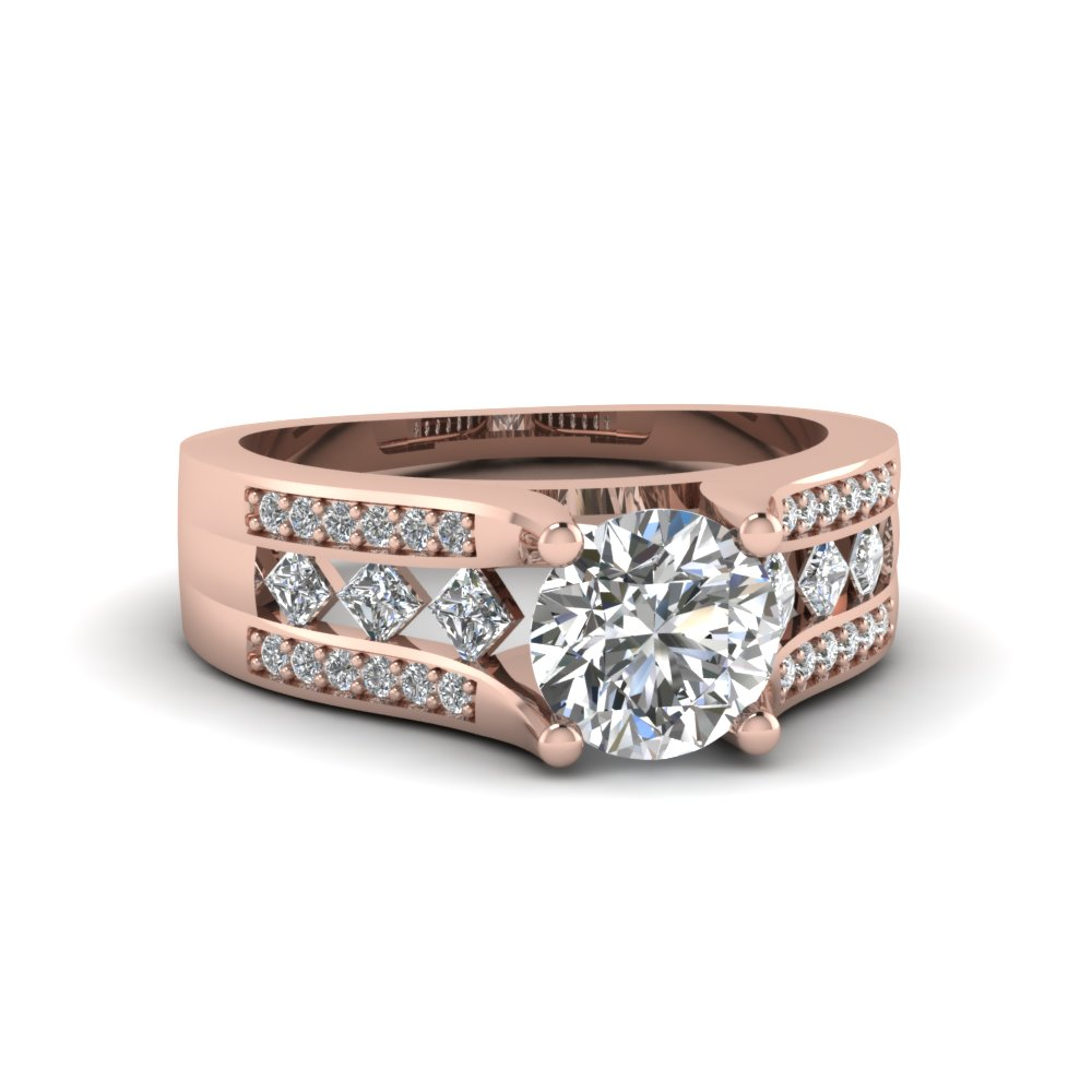 Round Cut Kite Set Diamond Engagement Ring In 18K Rose Gold