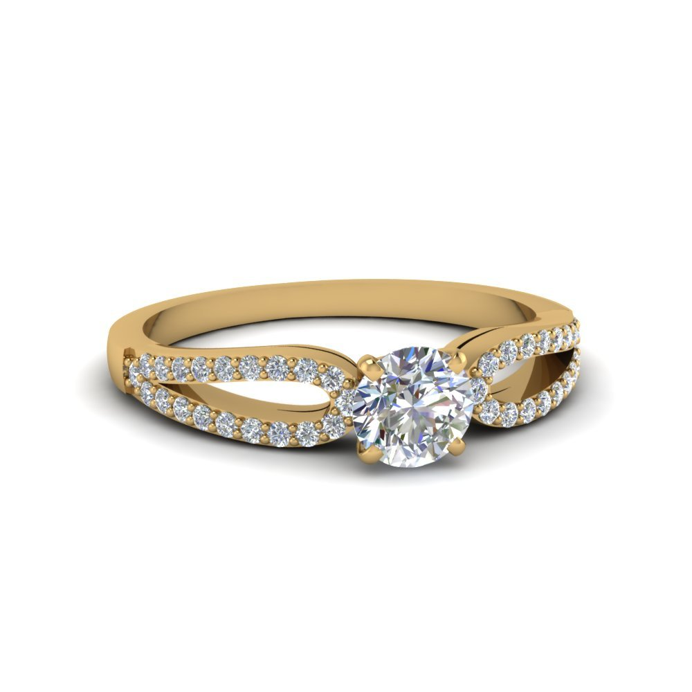 Loop Diamond Promise Ring In 14K Yellow Gold