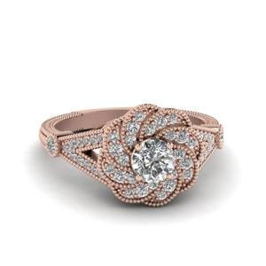 Micropave Halo Flower Diamond Ring